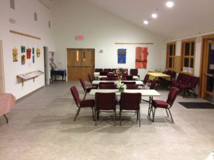 Our Fellowship Hall: Not just for eating! We also hold meetings here.